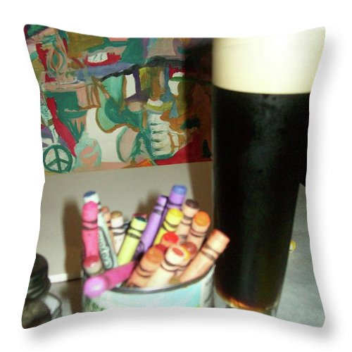 Guinness Throw Pillow featuring the painting Artists Tools by James Christiansen