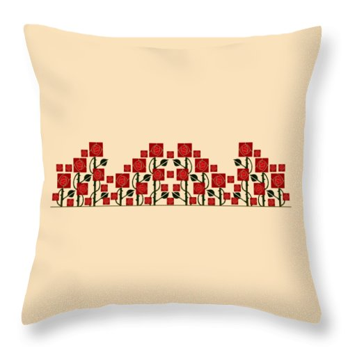 Arts & Crafts Throw Pillow featuring the digital art Arts And Crafts Rose Garden by Melissa A Benson