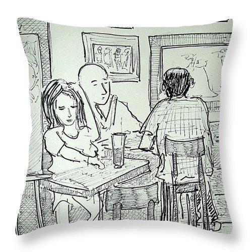 Jax On H Throw Pillow featuring the painting Artwalk At Jax by James Christiansen