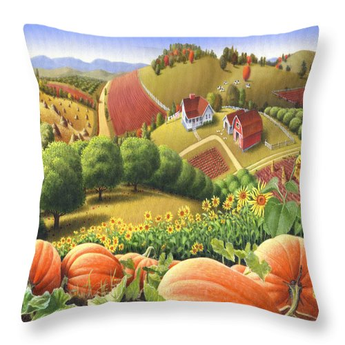 Pumpkin Throw Pillow featuring the painting Farm Landscape - Autumn Rural Country Pumpkins Folk Art - Appalachian Americana - Fall Pumpkin Patch by Walt Curlee