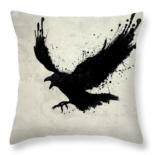 Raven Throw Pillow featuring the digital art Raven by Nicklas Gustafsson