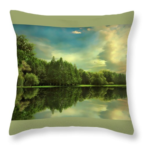 Landscape Throw Pillow featuring the photograph Summer Reflections by Jessica Jenney