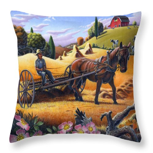 Raking Hay Throw Pillow featuring the painting Raking Hay Field Rustic Country Farm Folk Art Landscape by Walt Curlee