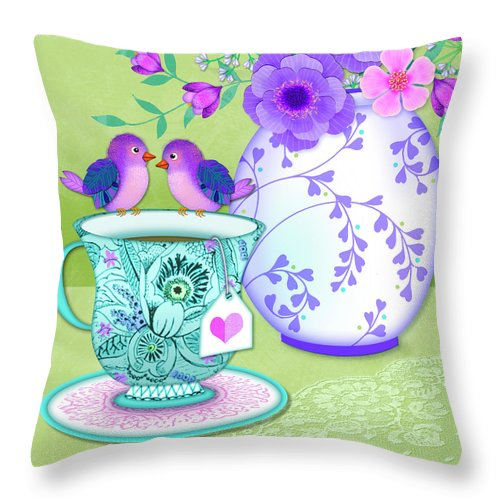 Tea Cup Throw Pillow featuring the mixed media Tea For Two by Valerie Drake Lesiak