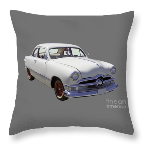 Ford Throw Pillow featuring the photograph 1950 Ford Custom Antique Car by Keith Webber Jr