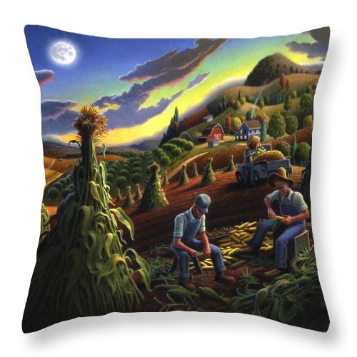 Autumn Throw Pillow featuring the painting Autumn Farmers Shucking Corn Appalachian Rural Farm Country Harvesting Landscape - Harvest Folk Art by Walt Curlee