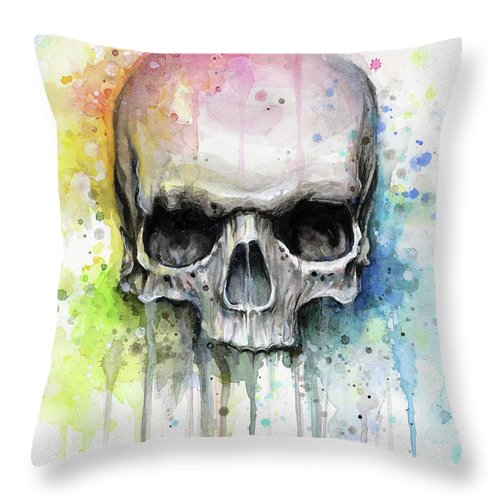Skull Throw Pillow featuring the painting Skull Watercolor Painting by Olga Shvartsur