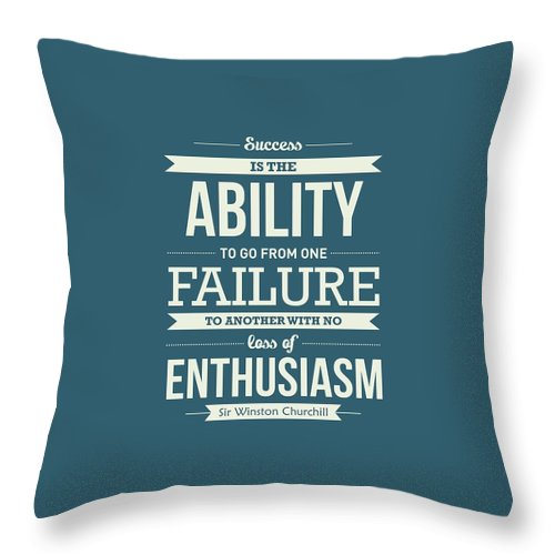 Success Quotes Throw Pillow featuring the digital art Winston Churchill British politician Typography quote Poster by Lab No 4 - The Quotography Department