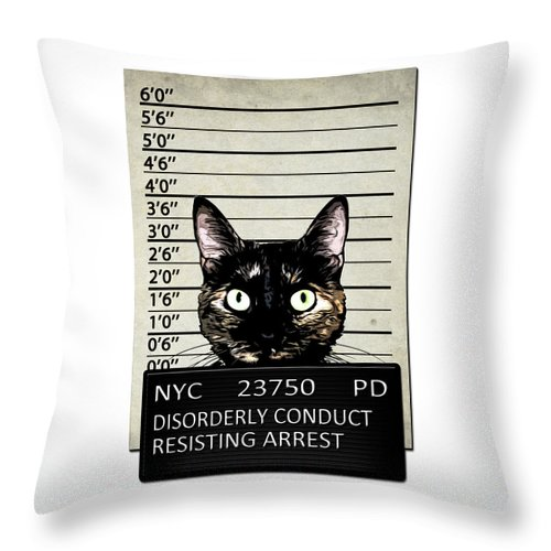 Cat Throw Pillow featuring the mixed media Kitty Mugshot by Nicklas Gustafsson