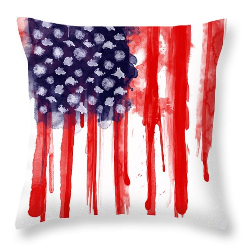 America Throw Pillow featuring the painting American Spatter Flag by Nicklas Gustafsson