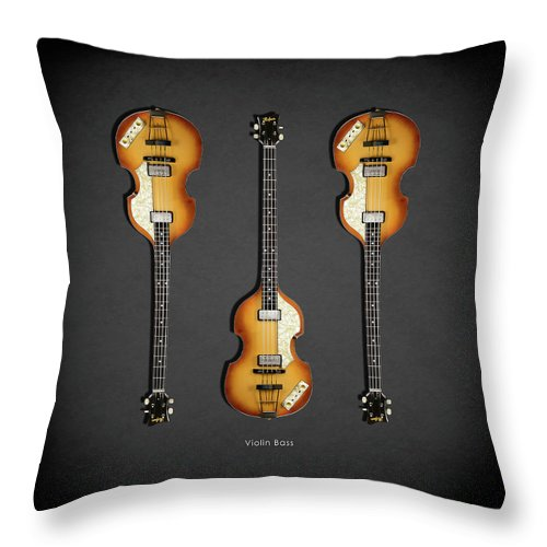 Hofner Violin Bass Throw Pillow featuring the photograph Hofner Violin Bass 62 by Mark Rogan