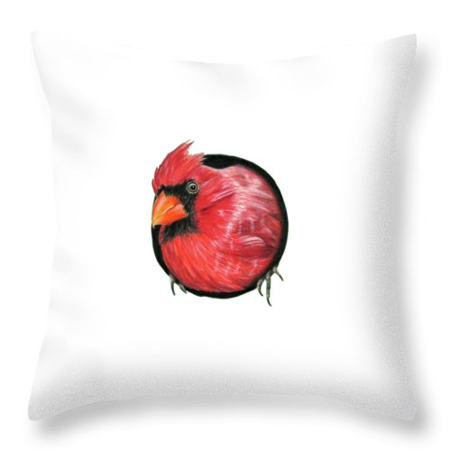 Cardinals Throw Pillow featuring the painting Red And Green by Sarah Batalka