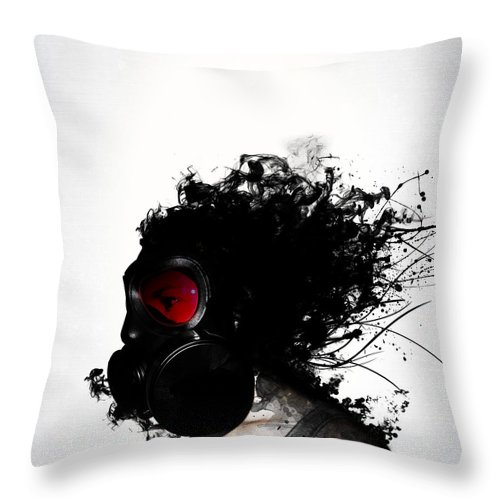Gas Throw Pillow featuring the mixed media Ghost Warrior by Nicklas Gustafsson