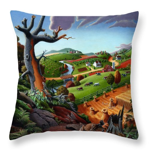 Appalachian Throw Pillow featuring the painting Appalachian Fall Thanksgiving Wheat Field Harvest Farm Landscape Painting - Rural Americana - Autumn by Walt Curlee