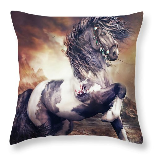 Apache War Horse Throw Pillow featuring the digital art Apache War Horse by Shanina Conway