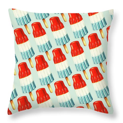 Popsicle Throw Pillow featuring the painting Bomb Pop Pattern by Kelly Gilleran