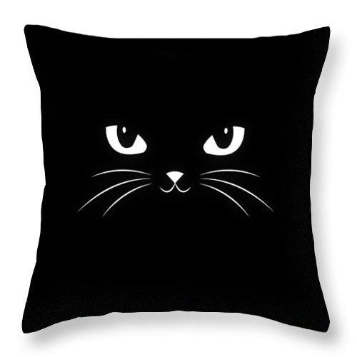 Cat Throw Pillow featuring the digital art Cute Black Cat by Philipp Rietz