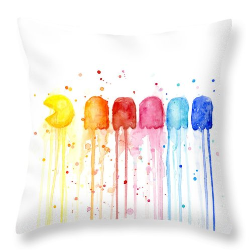 Game Throw Pillow featuring the painting Pacman Watercolor Rainbow by Olga Shvartsur