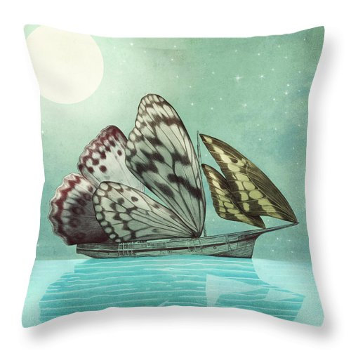Butterfly Throw Pillow featuring the drawing The Voyage by Eric Fan