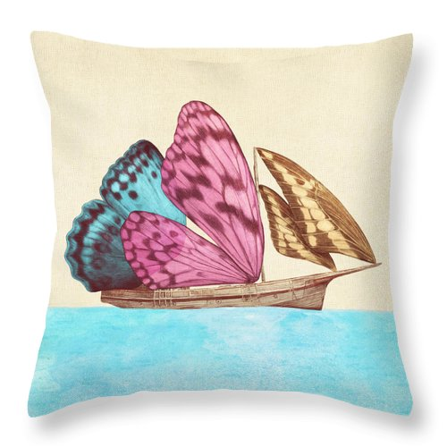 Butterfly Throw Pillow featuring the drawing Butterfly Ship by Eric Fan