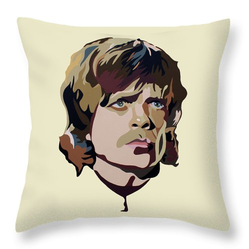 Tyrion Lannister Game Of Thrones Peter Dinklage Contemporary Pop Art Portrait Throw Pillow featuring the painting Tyrion Lannister by Ian King