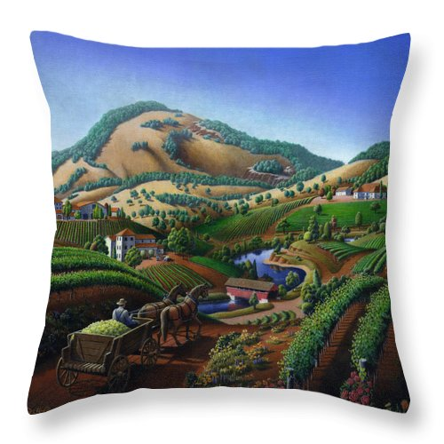 Old Throw Pillow featuring the painting Old Wine Country Landscape - Delivering Grapes To Winery - Vintage Americana by Walt Curlee