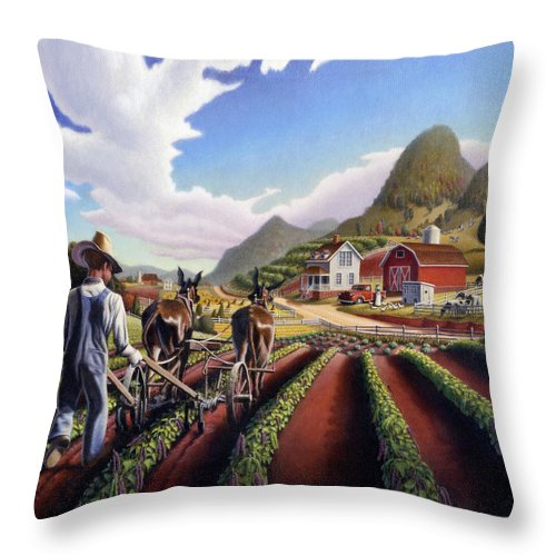 Appalachian Throw Pillow featuring the painting Appalachian Folk Art Summer Farmer Cultivating Peas Farm Farming Landscape Appalachia Americana by Walt Curlee
