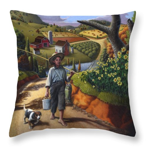 Boy And Dog Throw Pillow featuring the painting Boy And Dog Farm Landscape - Flashback - Childhood Memories - Americana - Painting - Walt Curlee by Walt Curlee