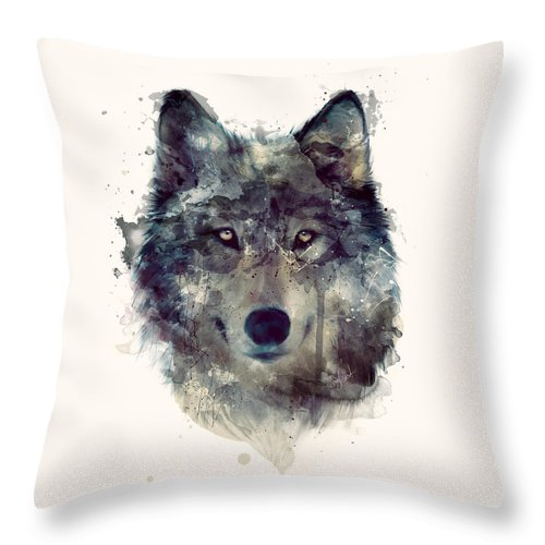 Wolf Throw Pillow featuring the painting Wolf // Persevere by Amy Hamilton