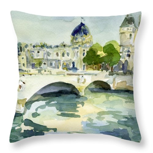 Paris Throw Pillow featuring the painting Pont de Change Watercolor Paintings of Paris by Beverly Brown