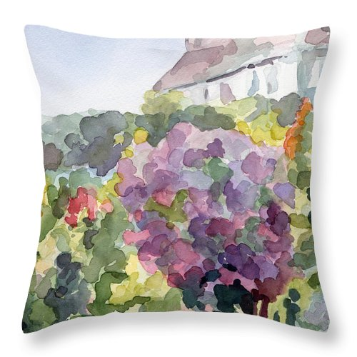 French Throw Pillow featuring the painting Purple Blossoms Monets Garden Watercolor Paintings of France by Beverly Brown Prints