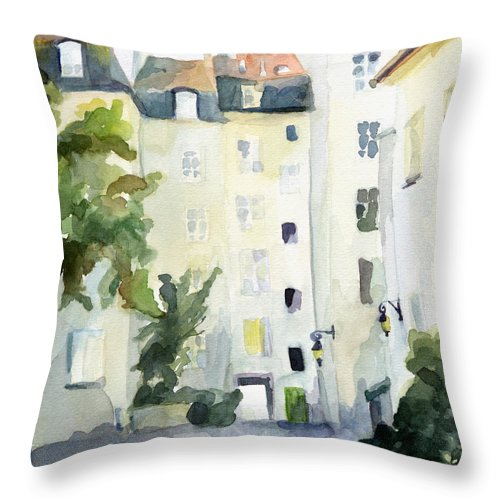Paris Throw Pillow featuring the painting Village Saint Paul Watercolor Painting of Paris by Beverly Brown