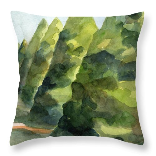 French Throw Pillow featuring the painting Topiary Parc St Cloud Watercolor Painting of France by Beverly Brown Prints