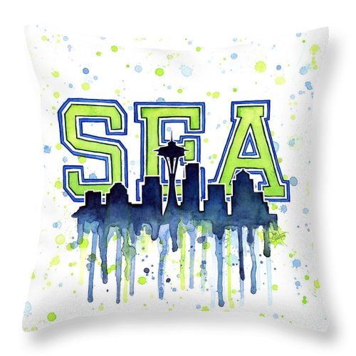 Watercolor Throw Pillow featuring the painting Seattle Watercolor 12th Man Art Painting Space Needle Go Seahawks by Olga Shvartsur