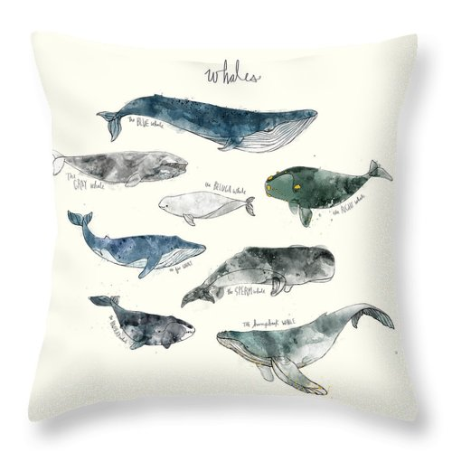 Whales Throw Pillow featuring the painting Whales by Amy Hamilton