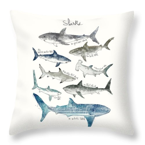 Sharks Throw Pillow featuring the painting Sharks by Amy Hamilton