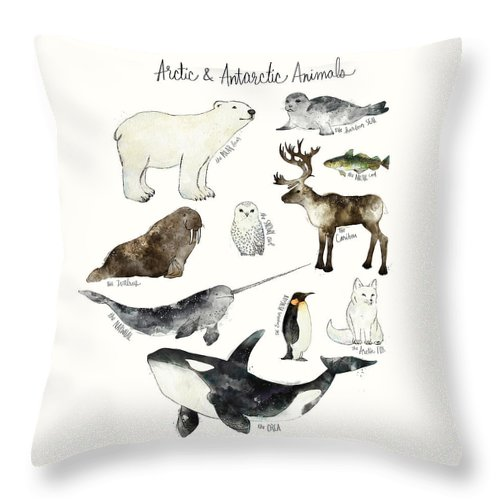 Chart Throw Pillow featuring the painting Arctic and Antarctic Animals by Amy Hamilton