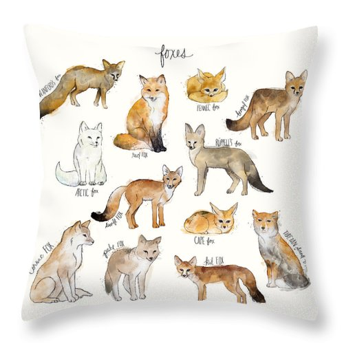 Blanford�s Fox Throw Pillow featuring the painting Foxes by Amy Hamilton