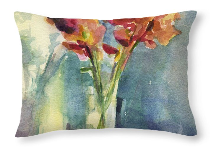 Floral Throw Pillow featuring the painting Snapdragons In Morning Light Floral Watercolor by Beverly Brown Prints