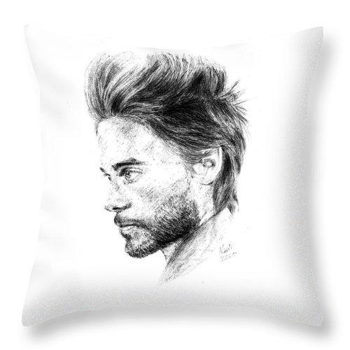 Jared Leto Portrait Pencil Paper Drawing Actor Singer Throw Pillow featuring the drawing Jared Leto by Nadi Sabirova