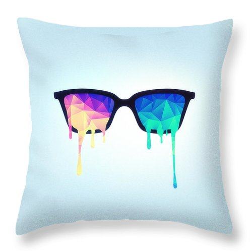Nerd Throw Pillow featuring the digital art Psychedelic Nerd Glasses with Melting LSD Trippy Color Triangles by Philipp Rietz