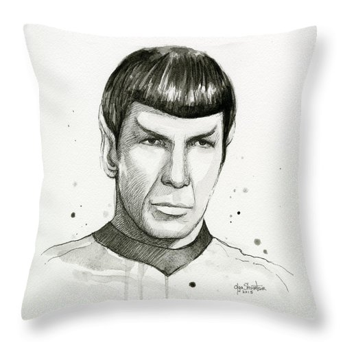 Star Trek Throw Pillow featuring the painting Spock Watercolor Portrait by Olga Shvartsur