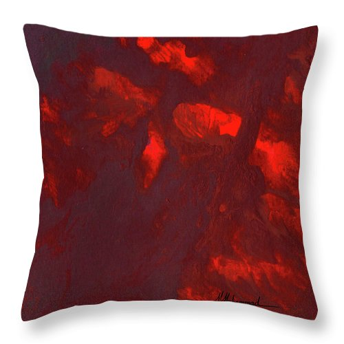 Red Throw Pillow featuring the painting Terminus by Marcella Muhammad