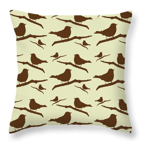 Bird Silhouette Throw Pillow featuring the mixed media Brown Bird Silhouette Modern Bird Art by Christina Rollo