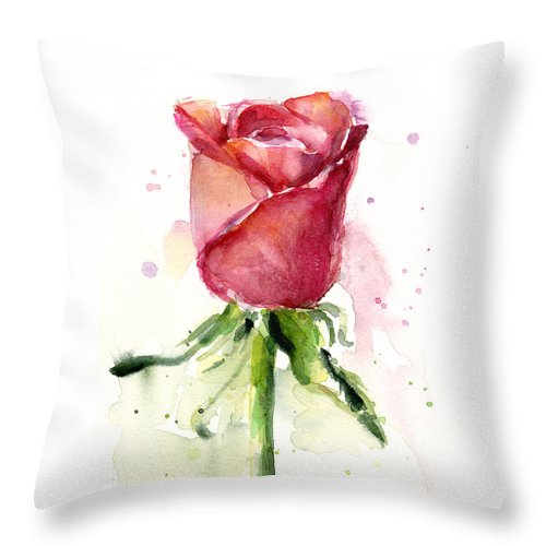 Rose Throw Pillow featuring the painting Rose Watercolor by Olga Shvartsur