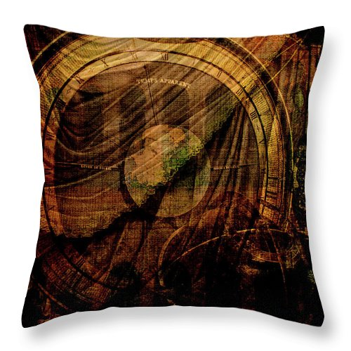 Astronomical Clock Throw Pillow featuring the digital art Horloge Astronomique by Sarah Vernon
