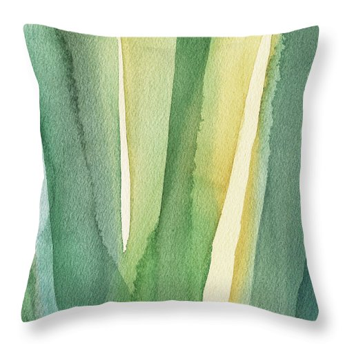 Green Throw Pillow featuring the painting Green Teal and Yellow Abstract by Beverly Brown Prints