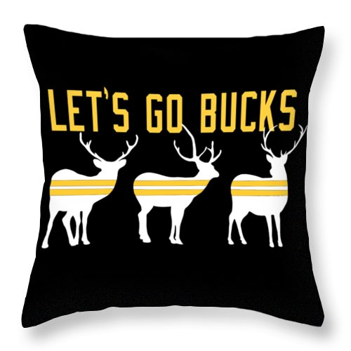 Pittsburgh Throw Pillow featuring the digital art Pirates - Pittsburgh - Let's Go Bucks by Colleen VT
