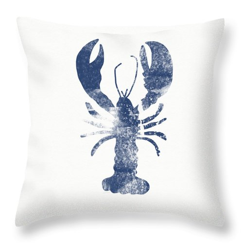 Cape Cod Throw Pillow featuring the painting Blue Lobster- Art by Linda Woods by Linda Woods