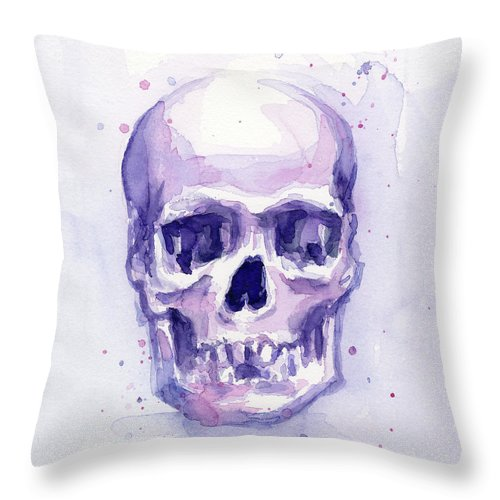 Purple Throw Pillow featuring the painting Purple Skull by Olga Shvartsur